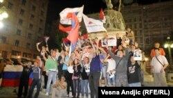 Slavlje pristalica Tomislava Nikolića u Beogradu nakon njegove pobede na izborima za predsednika Srbije 20. maja 2012
