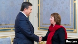 Catherine Ashton (djathtas) gjatë takimit të saj me presidentin e Ukrainës Viktor Yanukovich më 29 janar në Kiev