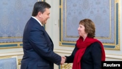 Ukrainian President Viktor Yanukovych (left) shakes hands with EU foreign-policy chief Catherine Ashton during a meeting in Kyiv on January 29.
