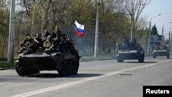 Українські БМД, захоплені сепаратистами у Краматорську, 16 квітня 2014 року