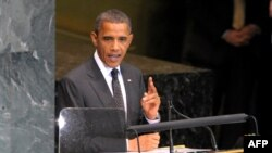 U.S. President Barack Obama speaks at the Millennium Development Goals summit at the United Nations in New York.