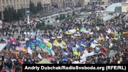 Protesters in Independence Square in Kyiv today.