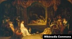 """Сцэна """"Пастаноўка п'есы"""" з """"Гамлета"""" (карціна Дэніэла Макліса, 1842)."""