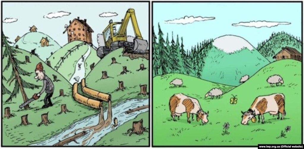 Охрана окружающей среды.  В Украине не всегда могут защитить лес от незаконной вырубки.  В ЕС прилагают максимальные усилия, чтобы лесные посадки не исчезали из-за проблем, связанных с изменением климата.