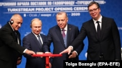 Bulgarian Prime Minister Boyko Borisov (left to right), Russian President Vladimir Putin, Turkish President Recep Tayyip Erdogan, and Serbian President Aleksandar Vucic attend the opening ceremony of the TurkStream project in Istanbul on January 8.