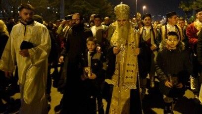 Mitropolit crnogorsko-primorski Amfilohije predvodi jednu od protestnih liturgija na ulicama Pogorice, 9. februar 2020.