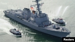 The United States said its strikes were aimed at radar that enabled the launch of three missiles this week against the U.S. Navy destroyer USS Mason (pictured, file photo).