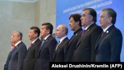 Лидеры стран Шанхайской организации сотрудничества в Бишкеке, 14 июня 2019 года.