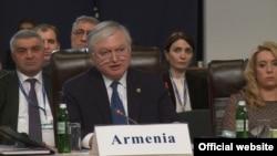 Глава МИД Армении Эдвард Налбандян выступает во время международной встречи (архив)