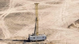 A drilling rig at the Inkai uranium mine in Kazakhstan