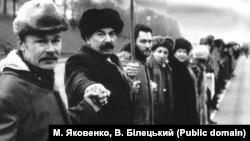 Представники донецької і харківської делегацій у «живому ланцюзі», Київ, 21 січня 1990 року
