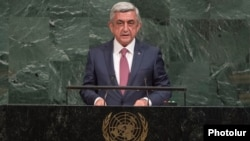 Armenian President Serzh Sarkisian speaks at the UN General Assembly in New York on September 19.