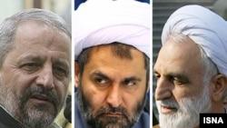 از راست: غلامحسین محسنی اژهای، حسین طائب، اسماعیل احمدی مقدم