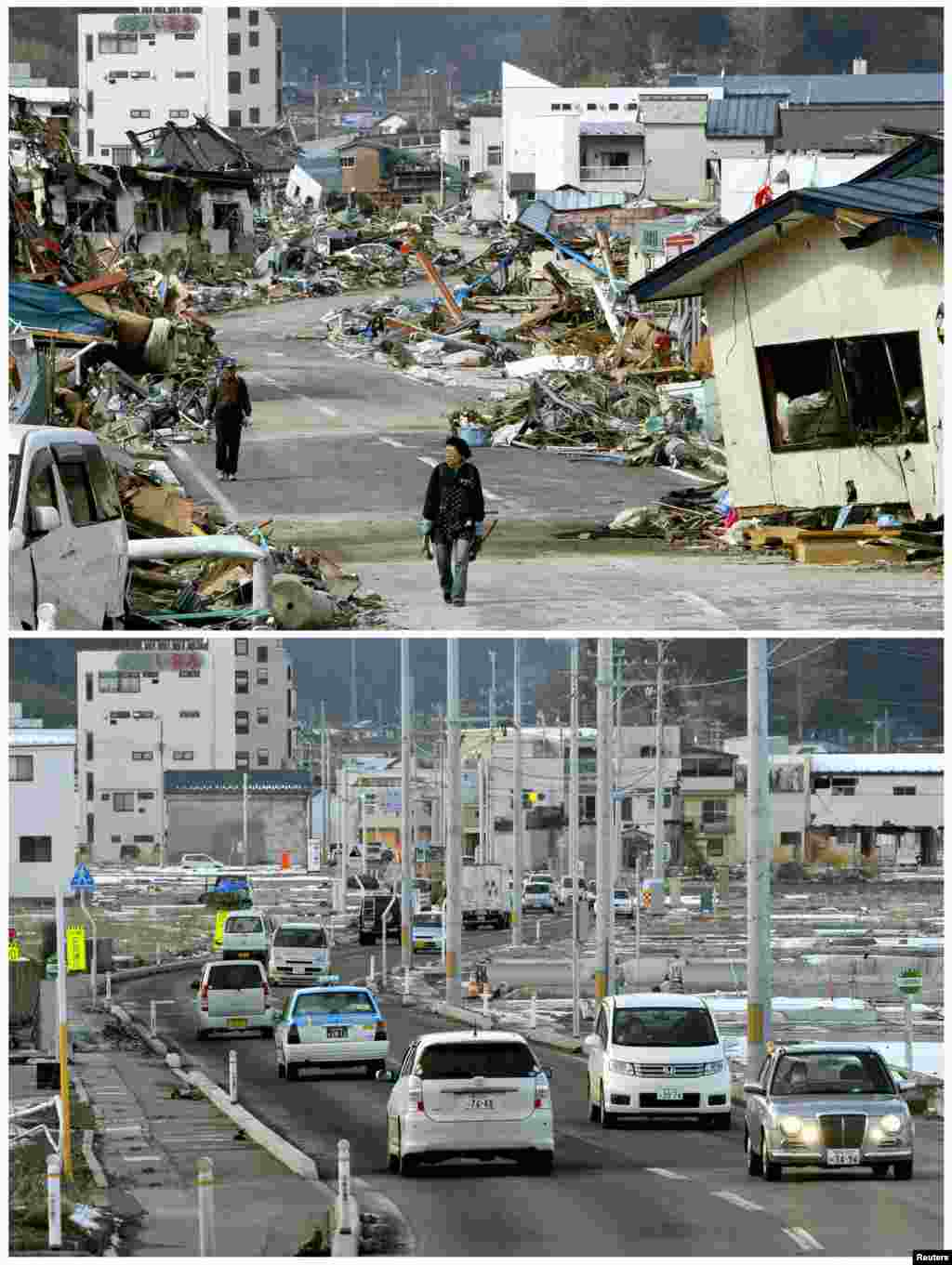 On top, the tsunami-devastated town of Yamada in Iwate Prefecture on March 14, 2011, and below on March 1, 2012