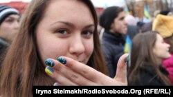 Еуропа Одағымен интеграцияны жақтаушы студенттер шеруі. Киев, 26 қараша 2013 жыл.
