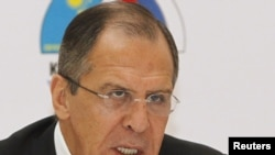 Russian Foreign Minister Sergei Lavrov speaks at a news conference in Almaty on May 13.