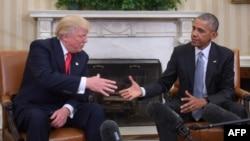 Барак Обама и Доналд Трамп на првата средба откако Трамп беше избран за претседател на САД, Вашингтон 10.11.2016.