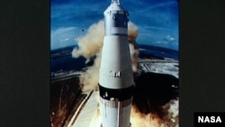 The Apollo 11 mission blasts off on July 16, 1969.
