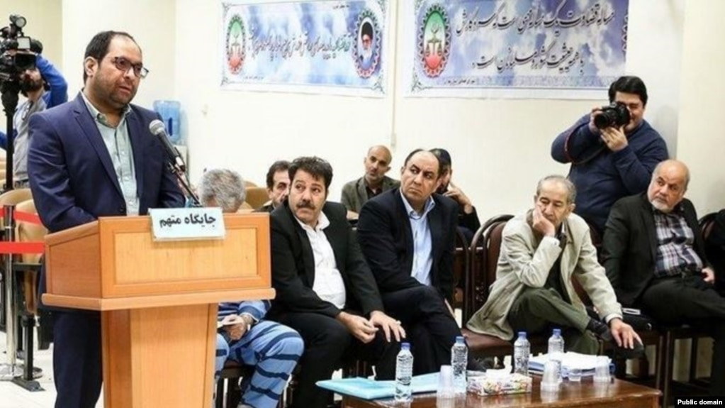 Ali-Ashraf Riahi, son-in-law of former Industries Minister Mohammad-Reza Nematzadeh, defending himself at court in April 2019 against corruption charges.