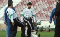 President Ahmadinejad joined Iran's national team for training on March 1 (Fars)