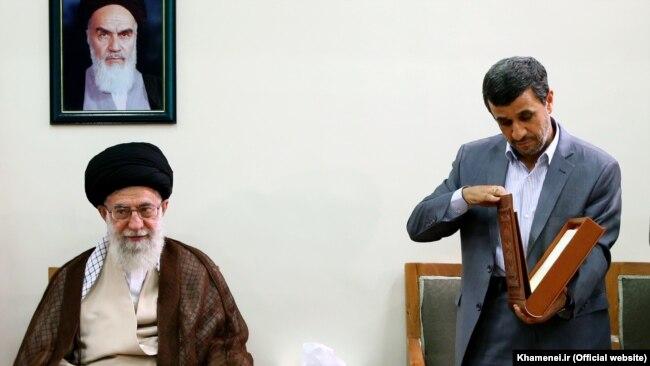 Did Supreme Leader Ali Khamenei (left) tell Mahmud Ahmadinejad (right) not to run again?