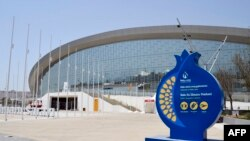 Azerbaijan -- A general view shows the Baku Aquatics Center ahead of the 2015 European Games in Baku, June 10, 2015