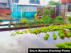 Затонувший огород в селе Гадалей в Иркутской области