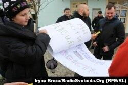 Під час маршу за права жінок в Ужгороді, 8 березня 2018 року