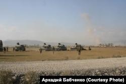 Российские самоходные артиллерийские установки в районе грузинского села Земо-Никози