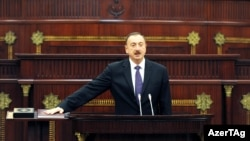 Azerbaijani President Ilham Aliyev at his 2013 swearing-in in Baku
