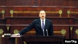 Azerbaijani President Ilham Aliyev at his 2013 swearing-in in Baku