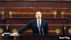 Ilham Aliyev is sworn in for a third term as Azerbaijani president on October 19.