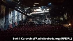 Наслідки пожежі у кінотеатрі «Жовтень», архівне фото
