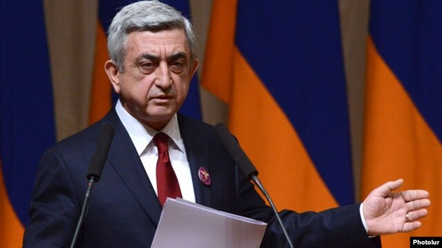 Armenia - President Serzh Sarkisian speaks at a Yerkrapah Union congress in Yerevan, 15Feb2014.