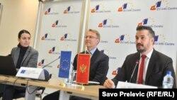 Istraživanje predstavili Ambasador EU u Crnoj Gori Aivo Orav (lijevo) i ministar za evropske poslove Crne Gore Aleksandar Andrija Pejović