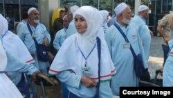 Tajik pilgrims flying to Saudi Arabia for the hajj in September 2014 at Dushanbe's airport.