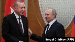 Ռուսաստանի նախագահ Վլադիմիր Պուտին և Թուրքիայի նախագահ Ռեջեփ Էրդողան, Սոչի, 14-ը փետրվարի, 2019թ․