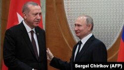 Russian President Vladimir Putin meets with his Turkish counterpart, Recep Tayyip Erdogan, in the Black Sea resort of Sochi on February 14.