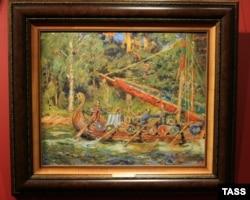 "Картина Ивана Колесникова ""Ермак"" (1915) выставлена на аукционе. Фото Михаила Фомичева (ИТАР-ТАСС)"