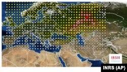 Фото Института радиологической защиты и ядерной безопасности, показывающее масштаб распространения рутения-106 в Европе