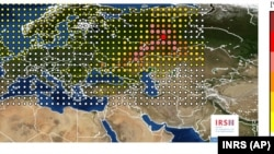 Распределение вероятности расположения источника выброса по данным INRS
