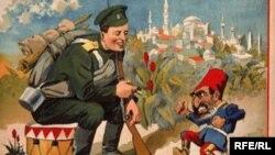 100 il əvvəl rus əsgəri və türk paşası karikaturası