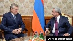 Armenia - President Serzh Sarkisain (R) meets with CSTO Secretary General Nikolay Bordyuzha, Yerevan, 6Oct2014.