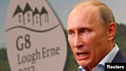 """Ресей президенті Владимир Путин """"Үлкен сегіздік"""" жиынында. Солтүстік Ирландия, 18 маусым 2013 жыл."""
