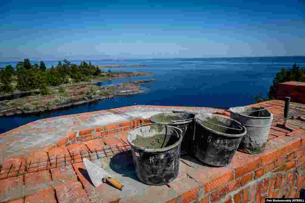 Construction work is under way on a church on Oboronny Island, just south of Valaam.