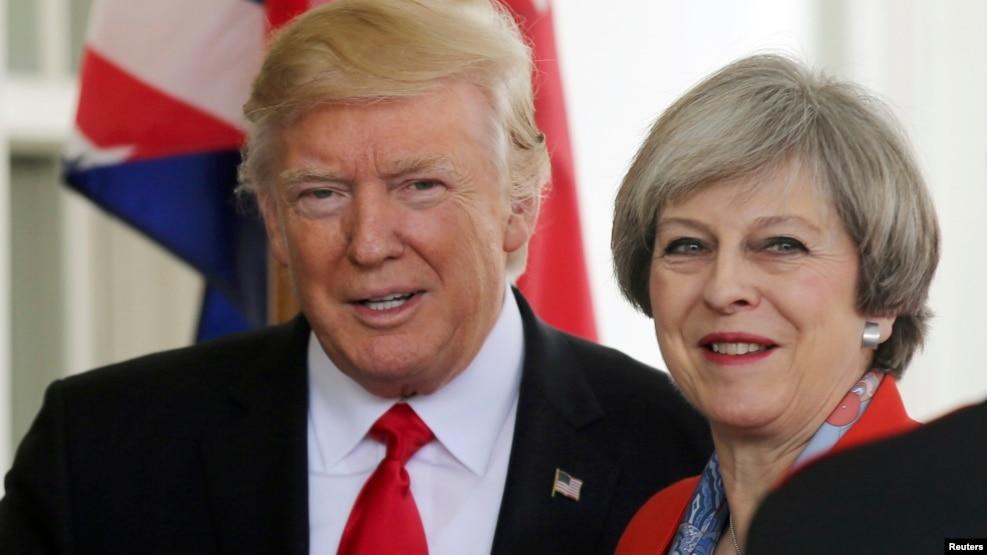 ABŞ prezidenti Donald Trump və Britaniyanın baş naziri Theresa May Ağ Evdə keçirilən mətbuat konfransında