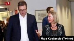 Vučić i Mogerini u Briselu