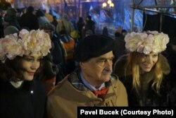 Карел Шварценберґ на Євромайдані, 14 грудня 2013 року