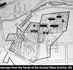 Схема расположения исторических зданий бывшей крепости примерно в 1990 году. Исторические постройки окрашены черным цветом. На сегодняшний день их осталось только четыре. Фото архивного документа (ЦГА Алматы, фонд 116, опись 2, дело 112).