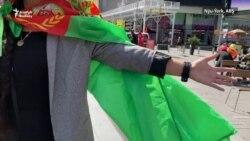 Nýu-Ýork: Türkmenler Berdimuhamedowa garşy BMG-niň öňünde protest, Times skwerinde fleşmob geçirdi